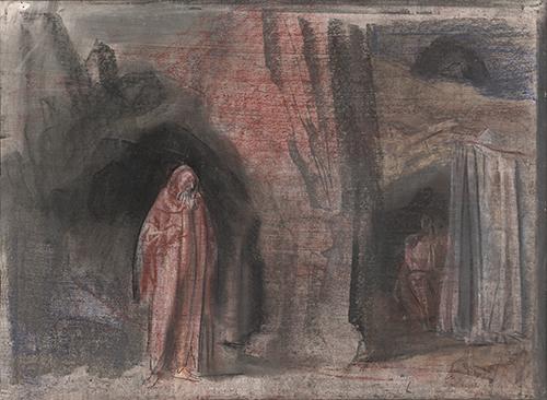1970年 意阿尼戈尼(柏拉图的洞穴)58X79cm 板上黑、棕色炭精条 .jpg